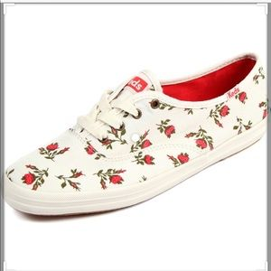 Champion Floral Red Rose Keds Sneakers